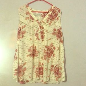 NWT Rose + Olive 3x Women's Top Floral Polka Dot